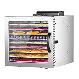 GYAM Deshidratador de Alimentos, deshidratador de Acero Inoxidable para Alimentos con 8 bandejas, Pantalla LED sin BPA 100% 24 HR Temporizador Digital Puerta de Vidrio Templado