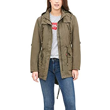 Levi s Women s Cotton Hooded Anorak Jacket  Standard & Plus Sizes  Army Green X-Large