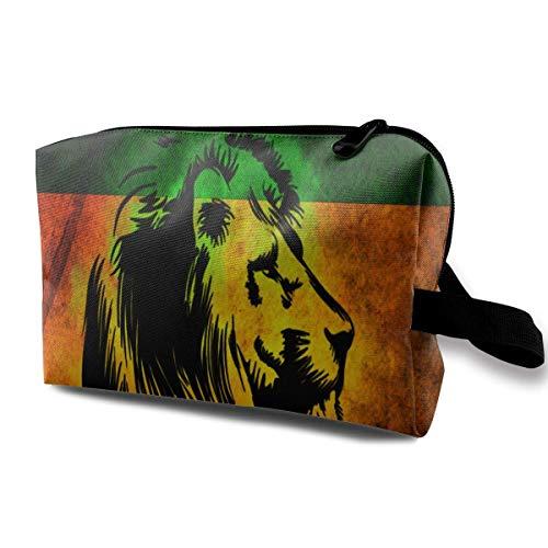 El Maquillaje cosmético del Bolso de la Bolsa del Viaje Grande de Reggae Rasta Lion empaqueta portátil con la Cremallera