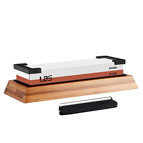 LBS Premium Whetstone,1000/3000 Dual Side Knife Sharpening Stone,Multipurpose Waterstone | HQ Whetstone Sharpener | Non-slip Bamboo Base&Angle Guide (White,Red)