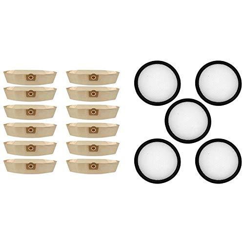 IUCVOXCVB Accesorios para aspiradora 5 piezas de filtro Hepa lavable para Proscenic P9 P9GTS, 12X para Karcher 6.959-130.0 A2201 WD3 bolsa de polvo bolsa de papel de filtro (color como se muestra)