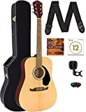 Fender FA-125 Dreadnought Acoustic Guitar - Natural Bundle with Hard Case, Tuner, Strap, Strings, Picks, and Austin Bazaar Instructional DVD