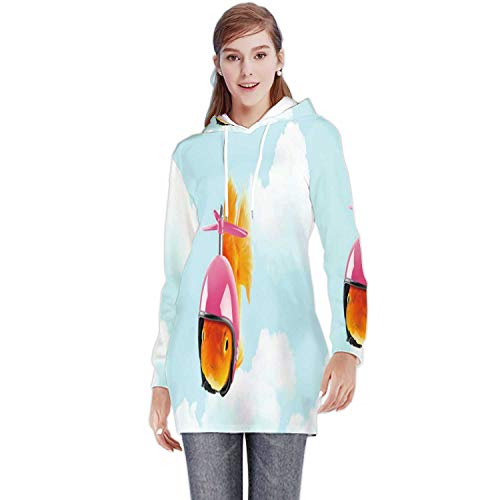 Goldfish Wearing a Helmet to Float in The Blue Sky,Colorful Slim Long Hoodie Dress Sweat for Women Travel Concept Thailand 2