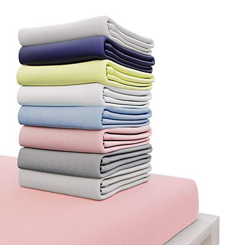Dreamzie - Spannbettlaken 90x200 cm - 100% Jersey Baumwolle Zertifiziert Oeko-TEX® - Rosa - Für Matratzen 90 x 200 x 22 cm