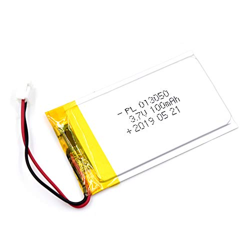 AKZYTUE 3.7V 100mAh 013050 Lipo Battery Rechargeable Lithium Polymer ion Battery Pack with JST Connector