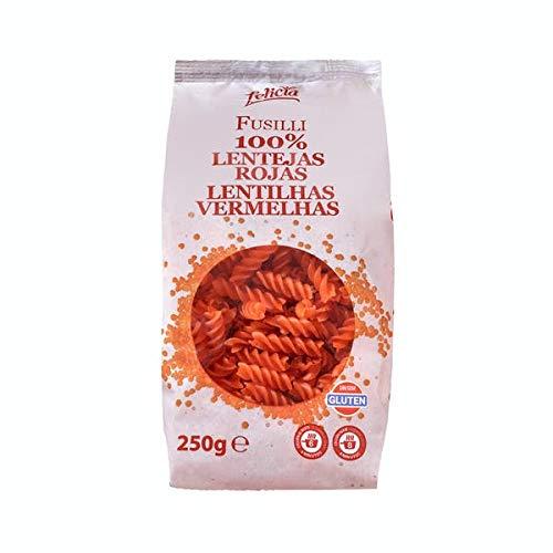 Felicia - Fusilli - Pasta Hecha 100% de Harinas de Lentejas Rojas - Sin Gluten - Sin Huevo ni Leche - 250 Gramos
