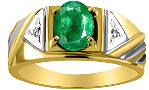 Para hombre simulado verde esmeralda y diamante anillo 14K oro amarillo banda
