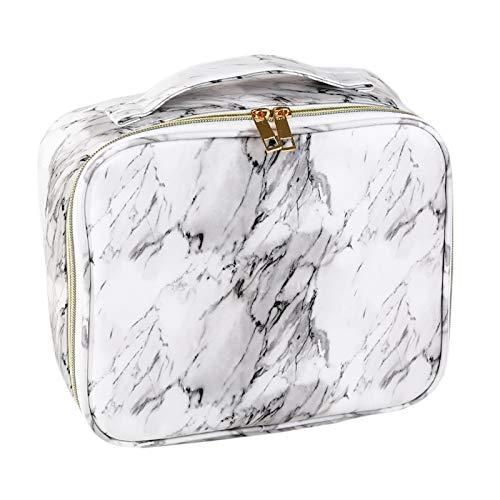ZumZup Sac de Maquillage Portable PU Sac Cosmtique Pliable de Voyage Multifonctions Pouch Make Up Organiseur Impermable Blanca