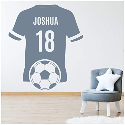 azutura Personalisierter Name und Nummer Fußballtrikot Wandtattoo verfügbar in 5 Größen und 25 Farben Fuchsie-Pink