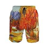 LISNIANY Bañador Hombre,Impresión Digital de Mountain Village,Natación Secado Rápido Malla Pantalones Imprimiendo Cortos(S)