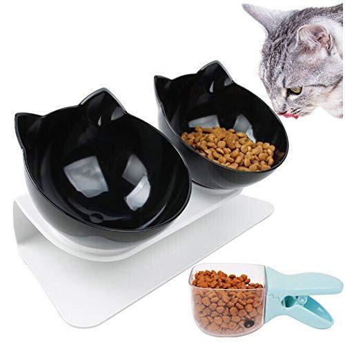 Legendog Futternäpfe Katzenfutter, 15 ° geneigt Doppel Schüsseln Mit Portionierer rutschfest Kippen Katzen schüssel,für Katzen und kleine Hunde - Schwarz 27,5 * 14 * 14 cm