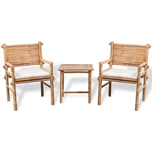 Festnight 3 Piece Bistro Set Bamboo Table with 2 Chairs and Cushion Dining Set Breakfast Kitchen Bar Pub Garden Backyard Patio Indoor Outdoor Furniture