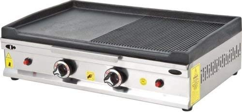 Professional Model 28 '' (70 cm) GROOVED and Flat CAST Iron Dual Surface Countertop Flat and Grooved Top Grill Hot Plate BBQ Restaurant Cooktop Manual Propane Gas Griddle for Commercial Kitchen