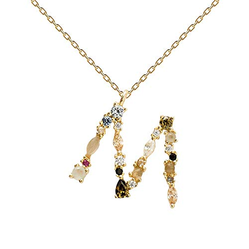 P D PAOLA - Collar Letra M - Plata de Ley 925 bañada en Oro de 18k - Joyas para Mujer