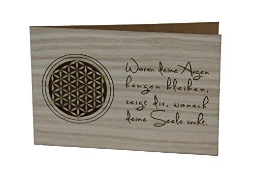 Holzgrußkarte - BLUME DES LEBENS - 100% handmade in Österreich - Postkarte, Geschenkkarte, Grußkarte, Klappkarte, Karte, Einladung, Holzart:Eiche