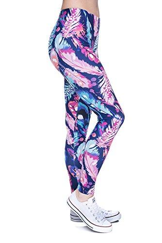 Abyeness Damen Leggings, digital, Bedruckt, weich, einfarbig, Gemustert, lang, dünn, Elastan - - Einheitsgröße