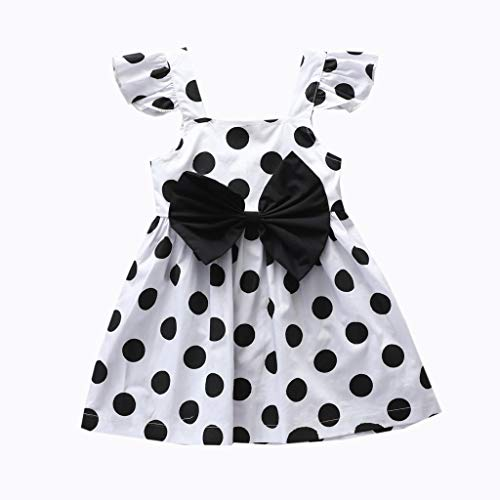 FORESTIME Girl Dress Skirt Newborn Infant Baby Polka Dot Dress Bowknot Princess Outfits Clothes,for Special Occasion(White,0-6 Months)