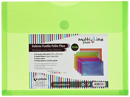 Grafoplás 04872920 - Sobres de plástico tamaño folio+ con fuelle - 5 unidades color verde