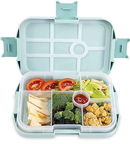 Hotcinfin Lunch Bento Box for Kids ,Toddler School Lunch Removable Containers,6 Compartment Leak Proof Durable,Food Grade Materials,BPA free Cute Salad Bowl Organizer for Boys,Girls,Adults,Blue