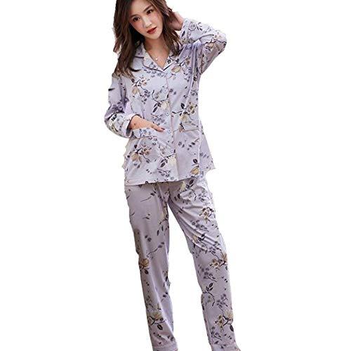 NOSSON Bademantel Mit Taschen Cotton Cute Nightwear Langärmliges Top & Hosen Pyjama...