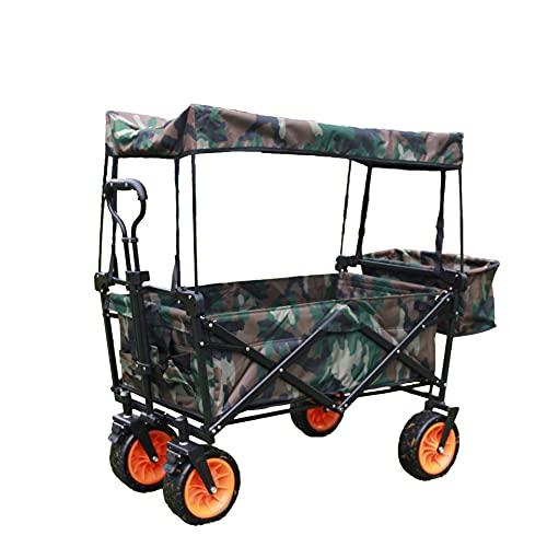 DGHJK Carrito para Exteriores, camión Resistente, con neumáticos Anchos Todoterreno y toldo Desmontable, Adecuado para Viajes en la Playa o Pesca en Camping (Camuflaje)
