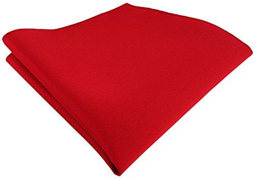 TigerTie Satin Einstecktuch in rot einfarbig Uni - Tuch Polyester - Größe 26 x 26 cm