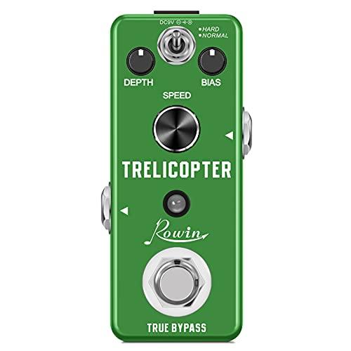 Rowin Pedal de efecto trémolo para guitarra eléctrica, pedal clásico con efecto Trelicopter Effects para guitarra eléctrica True Bypass