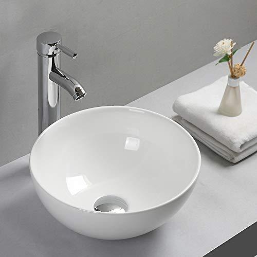 Gimify洗面ボウル 洗面台 洗面ボール 白陶器製 丸型手洗いボウル 手洗い器32* 32* 14.5cm