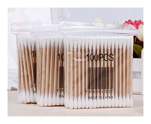 100/1000 Pcs Double-tête Coton-tige En Bambou Swab Cotton Swab Bâton En Bois À Usage Unique Bud Coton Nez Oreille Nettoyage Coton-tige (Color : 300pcs)