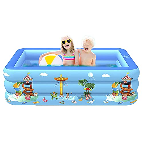 ZzWEI Inflatable Family Swimming Pool, Blue Rectangular Full-Sized Lounge Pool Summer Water Party, Above Ground Pool for Backyard Indoor Outdoor,130CM
