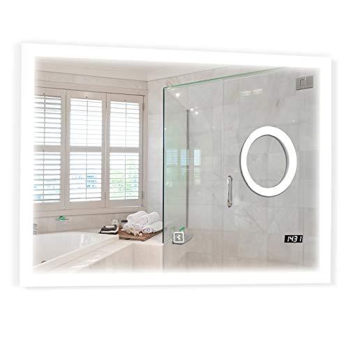 Badspiegel mit LED Beleuchtung - EEK A++, Touchschalter, Dimmbar 3in1 Einstellbar, Digitaluhr, Größen und Modellauswahl - Badezimmerspiegel, Wandspiegel, LED Spiegel (Bluetooth+Makeup+Uhr, 100x80 cm)