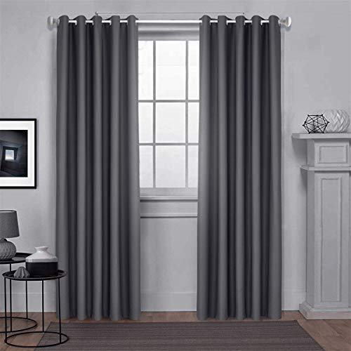 Dreaming Casa Blackout Curtains Grey Eyelet Thermal Insulated Bedroom Curtain Ring Top Solid Kids Windows Treatments Curtains Living Room Door 66 x 90 Drop Inch 2 Panels