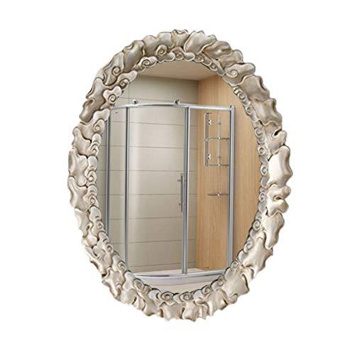 Zelf aan de muur gemonteerde Vanity Spiegel Ovaal, en Hennep Touw HD Zilver Spiegel met Explosiebestendige Functie voor Slaapkamer, Badkamer en Woonkamer