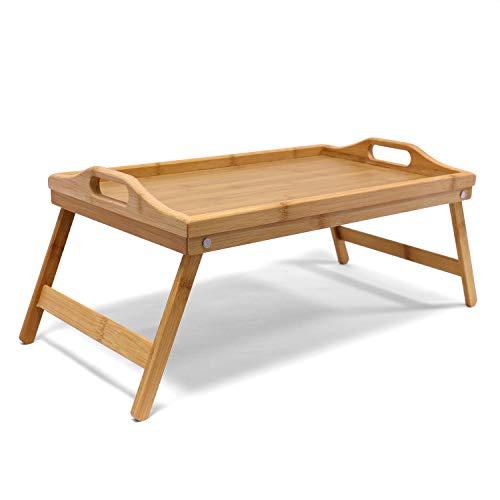 Table de Lit Plateau Petit Déjeuner en Bambou / Tablette de Lit Pliable en Bambou Laqué Bois avec Poignées Modulables - Garantie Excellente Qualité ! Dimensions: LxlxH: 50x30x21cm.