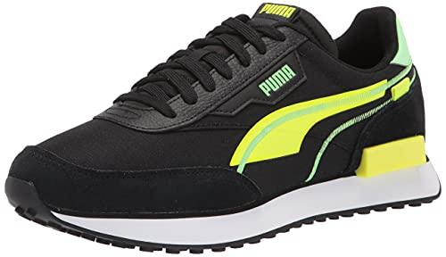 PUMA mens Future Rider Sneaker, Puma Black-yellow Alert, 13 US