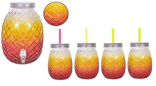 YöL Drink Dispenser With Airtight Tab And 4 Mason Jar Glasses with Straw Pineapple Summer Themed Glass Home Outdoor Picnic BBQ Parties