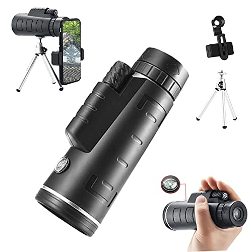 Bierglaks Telescopio monocular 10x50 para teléfono móvil Monoculares de brújula de Alta Potencia para Adultos Telescopio de Mano con Soporte para teléfono y trípode para observación de Aves, Caza