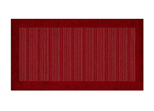 BIANCHERIAWEB Tappeto Passatoia Runner Cucina Antiscivolo Antimacchia Lavabile Stripes Suardi 55x140 Rosso