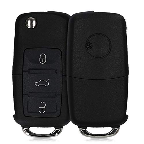 kwmobile Autoschlüssel Gehäuse kompatibel mit VW Skoda Seat 3-Tasten Autoschlüssel - ohne Transponder Batterien Elektronik - Auto Schlüsselgehäuse - Schwarz
