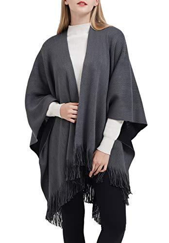 ilishop Women's Winter Knitted Faux Cashmere Poncho Capes Shawl Cardigans Sweater Coat Black-Grey Free