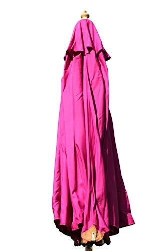 Großer Gartensonnenschirm in Spitzenqualität aus Hartholz - 3,5m Spannweite - 8 Farben zur Auswahl (Rosa)