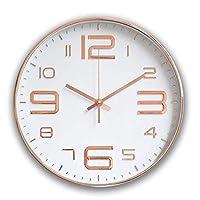 壁掛け時計、モダンサイレントクォーツ壁掛け時計リビングルームホームオフィススクール、目盛りのない装飾的な電池式時計、ローズゴールドプラスチックフレームガラスカバー(E、30 cm)