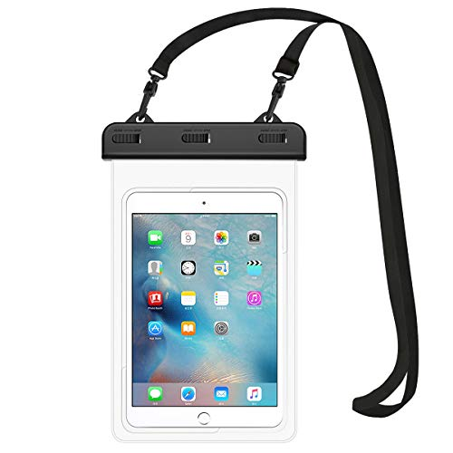 "HeySplash Universal Waterproof Tablet Case, Underwater Tablet Dry Bag with Lanyard Compatible with iPad Mini 2019/4/3/2, Samsung Tab 5/4/3, Galaxy Note 8, Tab S2/Tab A 8.0/Tab E, Up to 8.3"" - Clear"