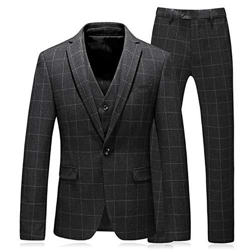 Outwear Chaqueta Chaleco Pantalones 2020 Nuevos Hombres Moda Slim Plaid Traje De Negocios Casual Mejor Conjunto De Tres Piezas Blazers Chaqueta Chaleco Pantalones