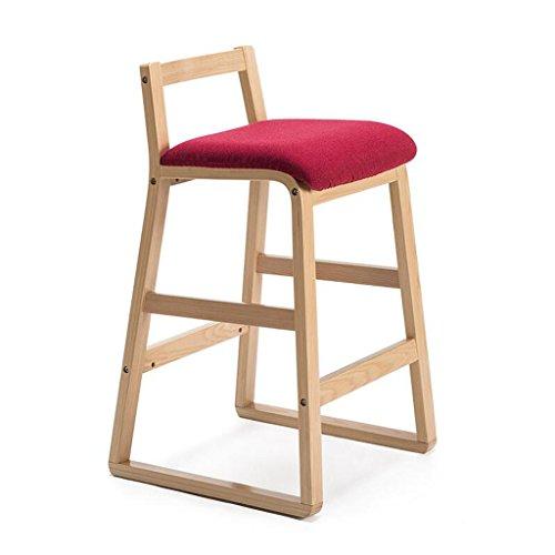 Rollsnownow Coussin rouge foncé en bois en bois cadre maison moderne Bar chaise Tabouret haut en bois solide rétro bar chaise haute tabouret (Size : High 68cm)