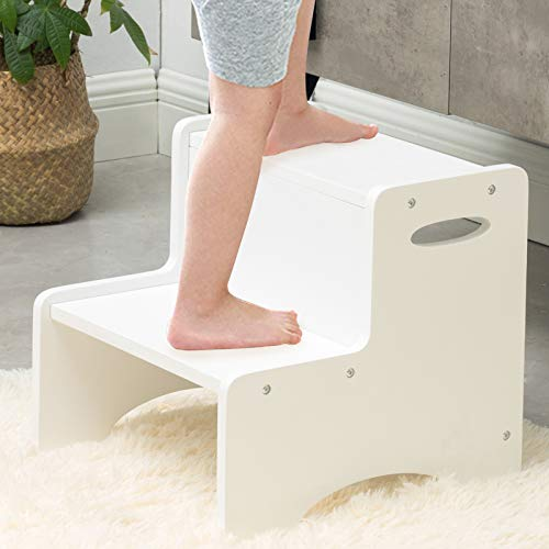 WOOD CITY Wooden Toddler Step Stool for Kids White Two Step Children#039s Stool with Handles Bonus NonSlip Pads for Safety Bathroom Potty Stool amp Kitchen Step Stools Dual Height
