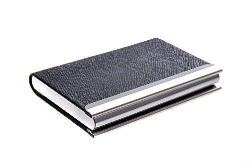 Quantum Abacus Tarjetero / Estuche para tarjetas de visita, de acero inoxidable y cuero PU, con cierre magnético, elegancia clásica de todos los tiempos, Mod. 701-01 (DE)