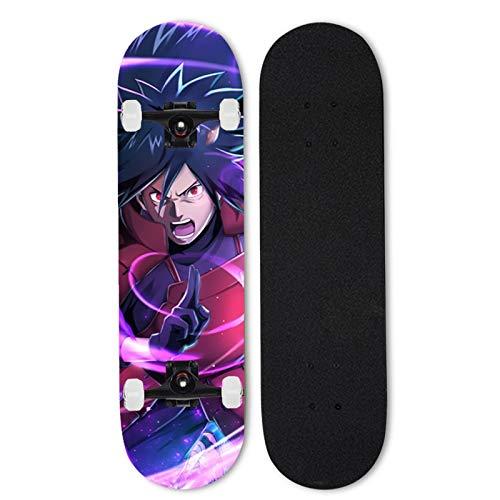 Totots Naruto Outdoor Skateboard, Uchiha Madara Maple Doble Tilt Skateboard, monopatín de Cuatro Ruedas Anime, Skateboard para Principiantes/Profesionales, monopatín Completo de 31 Pulgadas, el mejo
