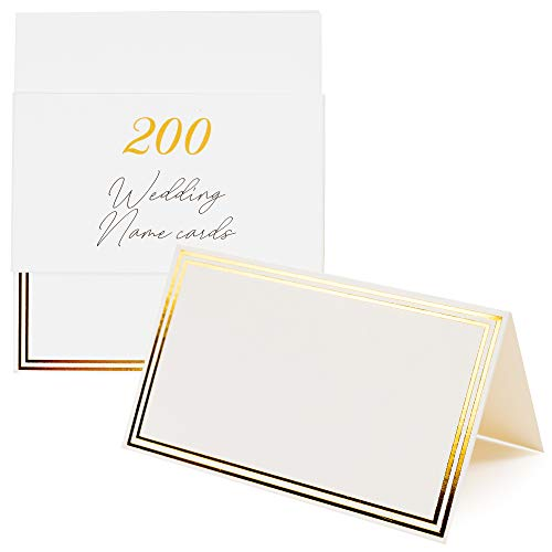 200 Tarjetas Blancas para Bodas - Tarjetas con Inscripción, Decoración para celebraciones - reservado mesa nombres cartulina para colocar y con un marco de borde negro para más elegancia.