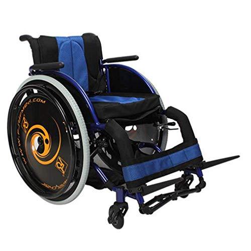 DSHUJC Silla de Ruedas Atlética, súper Liviana, Plegable, rápida, liberación rápida, Rueda Trasera para Evitar vuelcos, Suave y cómodo Carrito Manual (Color: Azul)
